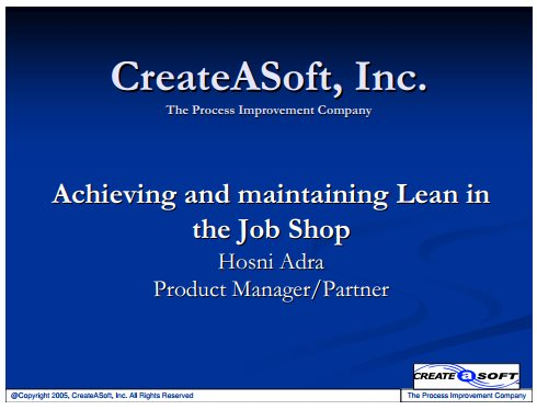 achieving and maintaining lean in the job shop